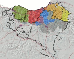 Répartition des dialectes basques en 2008. Source : http://data.abuledu.org/URI/52bc5465-repartition-des-dialectes-basques-en-2008