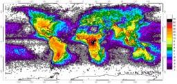 Répartition mondiale des zones à foudre. Source : http://data.abuledu.org/URI/533c75f5-repartition-mondiale-des-zones-a-foudre