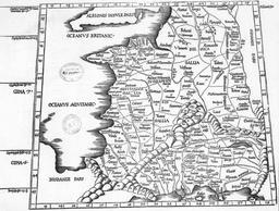 Représentation de la Gaule au temps de Ptolémée. Source : http://data.abuledu.org/URI/54a2f349-representation-de-la-gaule-au-temps-de-ptolemee