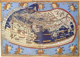 Représentation du monde par Ptolémée. Source : http://data.abuledu.org/URI/56570b95-representation-du-monde-par-ptolemee