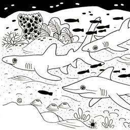 Banc de requins. Source : http://data.abuledu.org/URI/52d83808-requins