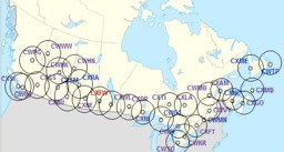Réseau des radars météo canadiens. Source : http://data.abuledu.org/URI/52332878-reseau-des-radars-meteo-canadiens