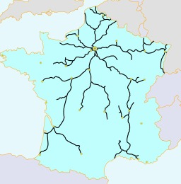 Réseau ferroviaire français en 1856. Source : http://data.abuledu.org/URI/50dce128-reseau-ferroviaire-francais-en-1856