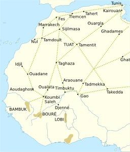 Routes transsahariennes médiévales. Source : http://data.abuledu.org/URI/52d1c8eb-routes-transsahariennes-medievales