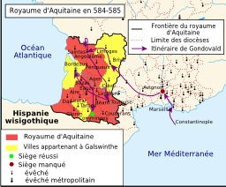 Royaume d'Aquitaine en 584-585. Source : http://data.abuledu.org/URI/51d4a4c3-royaume-d-aquitaine-en-584-585