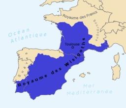 Royaume des Wisigoths. Source : http://data.abuledu.org/URI/5073d962-royaume-des-wisigoths
