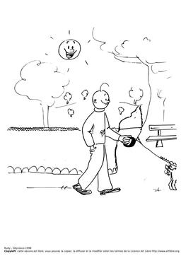 Rudy promène son chien. Source : http://data.abuledu.org/URI/51bb0fd2-rudy-promene-son-chien