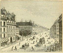 Rue de la République à Lyon en 1877. Source : http://data.abuledu.org/URI/524db499-rue-de-la-republique-a-lyon-en-1877