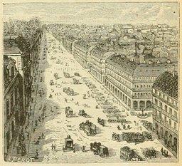 Rue de Rivoli à Paris en 1877. Source : http://data.abuledu.org/URI/524efb68-rue-de-rivoli-a-paris-en-1877