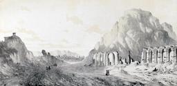 Ruines du Palais Ferrâhbad en 1843. Source : http://data.abuledu.org/URI/53bf0477-ruines-du-palais-ferrahbad-en-1843