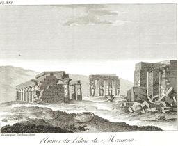 Ruines du temple de Memnon en 1799. Source : http://data.abuledu.org/URI/591e2f5e-ruines-du-temple-de-memnon-en-1799