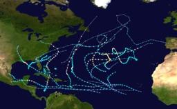 Saison cyclonique 2012 dans l'Atlantique nord. Source : http://data.abuledu.org/URI/52c83bdd-saison-cyclonique-2012-dans-l-atlantique-nord