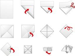 Salière en origami en douze étapes. Source : http://data.abuledu.org/URI/52f2a28a-saliere-en-origami-en-douze-etapes