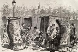 Salle à manger improvisée au Champ-de-Mars en 1878. Source : http://data.abuledu.org/URI/58704ad8-salle-a-manger-improvisee-au-champ-de-mars-en-1878