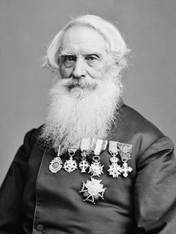 Photoportrait de Samuel Morse en 1860. Source : http://data.abuledu.org/URI/53737f2f-samuel-morse