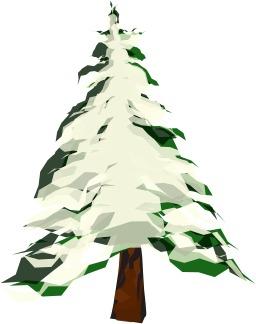 Sapin vert stylisé couvert de neige. Source : http://data.abuledu.org/URI/5407c9a8-sapin-vert-stylise-couvert-de-neige