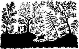 Scène de chasse en silhouette. Source : http://data.abuledu.org/URI/52f2943a-scene-de-chasse-en-silhouette