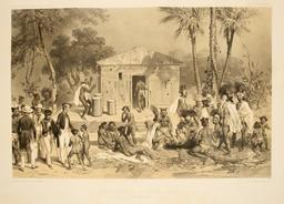 Scène funéraire à Nouka-Hiva en 1838. Source : http://data.abuledu.org/URI/5980812b-scene-funeraire-a-nouka-hiva-en-1838