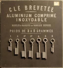 Sept clés en aluminium en 1892. Source : http://data.abuledu.org/URI/53307a7f-sept-cles-en-aluminium-en-1892
