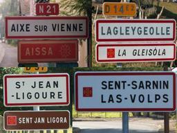 Signalisation bilingue en limousin. Source : http://data.abuledu.org/URI/52bca56b-signalisation-bilingue-en-limousin
