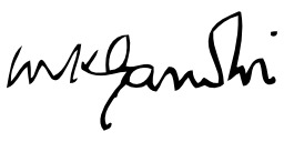 Signature de Gandhi. Source : http://data.abuledu.org/URI/53ade9d7-signature-de-gandhi