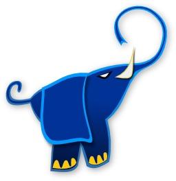 Silhouette d'éléphant bleu. Source : http://data.abuledu.org/URI/54067c07-silhouette-d-elephant-bleu