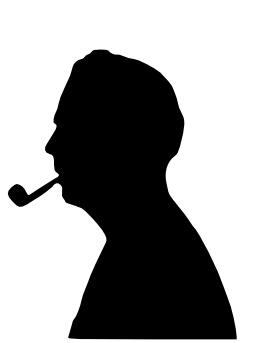 Silhouette de fumeur de pipe. Source : http://data.abuledu.org/URI/5393178b-silhouette-de-fumeur-de-pipe