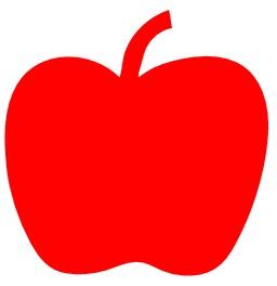 Silhouette de pomme rouge. Source : http://data.abuledu.org/URI/54358b2d-silhouette-de-pomme-rouge
