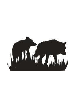 Silhouettes de deux loups. Source : http://data.abuledu.org/URI/54043095-silhouettes-de-deux-loups