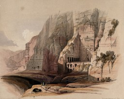 Site de Petra en 1849. Source : http://data.abuledu.org/URI/54b5aa32-site-de-petra-en-1849
