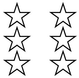 Six étoiles à cinq branches. Source : http://data.abuledu.org/URI/517f7b6c-six-etoiles-a-cinq-branches