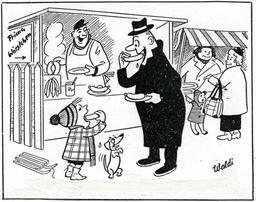 Stand de saucisses chaudes en 1955. Source : http://data.abuledu.org/URI/5343e233-stand-de-saucisses-chaudes-en-1955