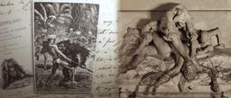 Statue de l'Orang-outan étranglant un chasseur. Source : http://data.abuledu.org/URI/53e39c37-statue-de-l-orang-outan-etranglant-un-chasseur