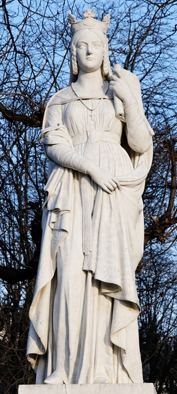 Statue de Ste Bathilde dans le Jardin du Luxembourg. Source : http://data.abuledu.org/URI/52d01d04-statue-de-ste-bathilde-dans-le-jardin-du-luxembourg