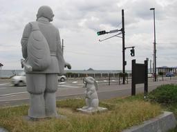 Statues d'Inaba et Okuninushi à Tottori. Source : http://data.abuledu.org/URI/556f67e1-statues-d-inaba-et-okuninushi-a-tottori