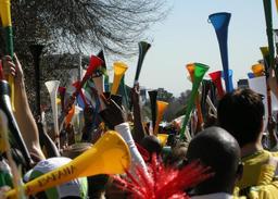 Supporteurs avec des vuvuzelas. Source : http://data.abuledu.org/URI/52d30e63-supporteurs-avec-des-vuvuzelas