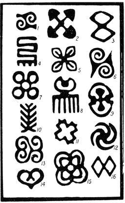 Symboles d'art Adinkra. Source : http://data.abuledu.org/URI/530cbd3d-symboles-d-art-adinkra