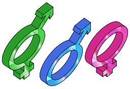 Symboles des trois genres en 3D. Source : http://data.abuledu.org/URI/5309d357-symboles-des-trois-genres-en-3d