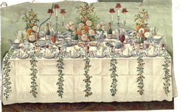 Table de fête à six couverts en 1907. Source : http://data.abuledu.org/URI/51a627f0-table-de-fete-a-six-couverts-en-1907