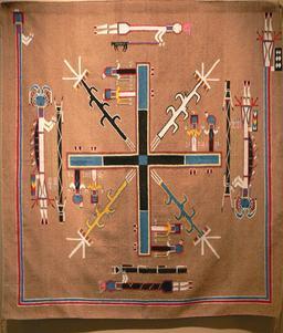 Tapis Navajo. Source : http://data.abuledu.org/URI/5019ade7-gilcrease-navajo-sandpainting-rug-2-jpg