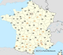 Températures du 12 août 2003 en France. Source : http://data.abuledu.org/URI/52372fda-temperatures-du-12-aout-2003-en-france
