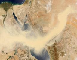 Tempête de sable sur la Mer Rouge. Source : http://data.abuledu.org/URI/5539759c-tempete-de-sable-sur-la-mer-rouge