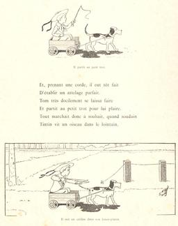 Tintin-Lutin attelle son chien. Source : http://data.abuledu.org/URI/560c550d-tintin-lutin-attelle-son-chien