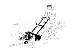 Tondre la pelouse. Source : http://data.abuledu.org/URI/5027d28c-tondre-la-pelouse