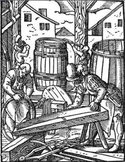 Tonnellerie au XVIème siècle. Source : http://data.abuledu.org/URI/51db5d7b-tonnellerie-au-xvieme-siecle