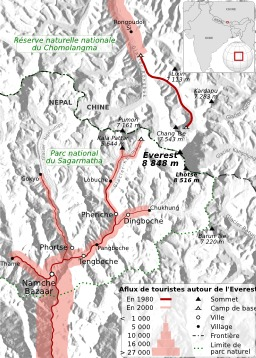 Tourisme autour du Mont Everest de 1980 à 2000. Source : http://data.abuledu.org/URI/51d09a74-tourisme-autour-du-mont-everest-de-1980-a-2000