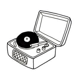 Tourne-disque avec disque. Source : http://data.abuledu.org/URI/52d86481-tourne-disque-avec-disque