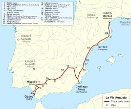 Tracé de la Via Augusta en Hispanie. Source : http://data.abuledu.org/URI/54a2f0d1-trace-de-la-via-augusta-en-hispanie