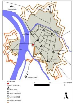 Tracé des remparts de Montauban en 1621. Source : http://data.abuledu.org/URI/571a8d48-trace-des-remparts-de-montauban-en-1621