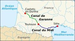 Tracé du Canal du Midi. Source : http://data.abuledu.org/URI/51ce137c-trace-du-canal-du-midi